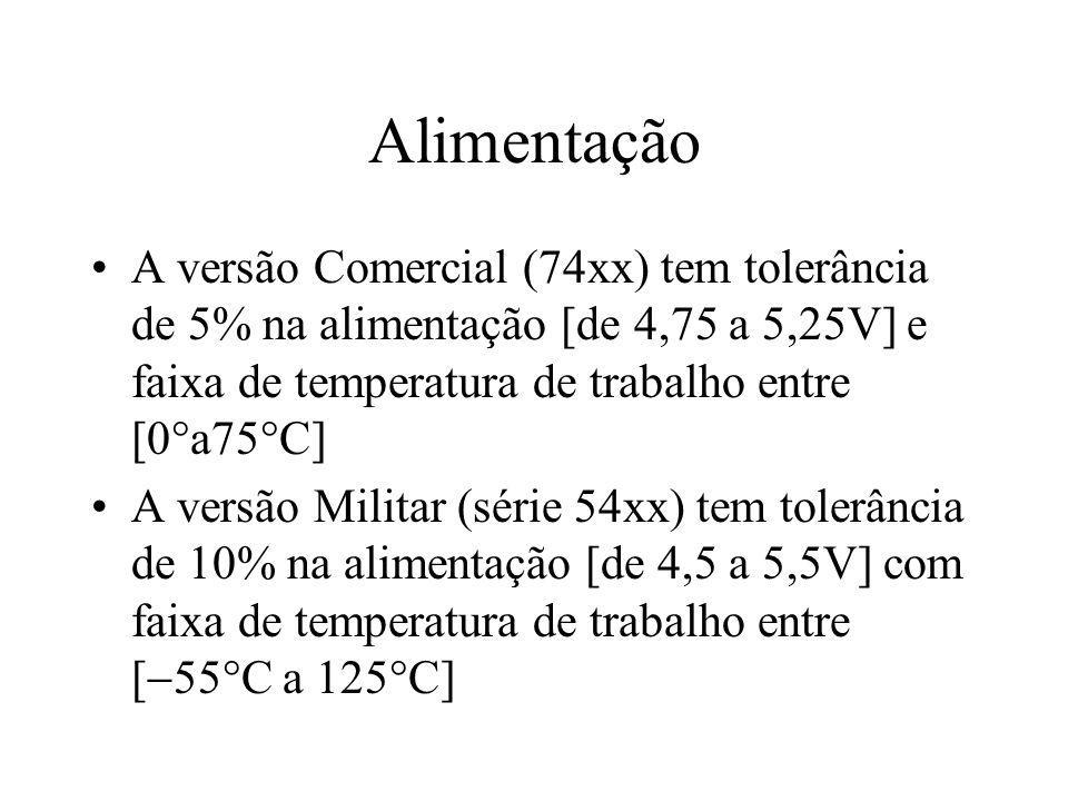 Alimentação A versão Comercial (74xx) tem tolerância de 5% na alimentação [de 4,75 a 5,25V] e faixa de temperatura de trabalho entre [0a75C]